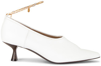 Stella McCartney Ankle Chain Mid Heel Pumps in Pure White | FWRD
