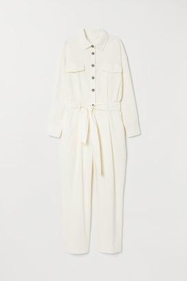 H&M Corduroy Jumpsuit - White