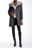 Andrew Marc Mara Genuine Rabbit Fur Collar Wool Blend Coat