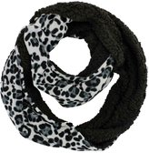 Luxury Divas Grey Leopard Print Infinity Scarf With Faux Fur Lining