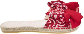Manebi Bandana Flat Sandals With Bow Red