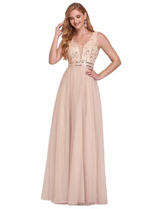 Ever Pretty Ever-Pretty Women's Fashion Sleeveless V Neck Empire Waist A Line Long Tulle with Sequin Evening Dresses Blush 10UK