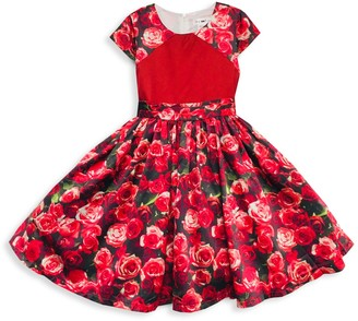 Joe Ella Little Girl's & Girl's Floral-Print Pleated Dress