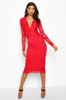 boohoo Tall Plunge Lace Midi Dress