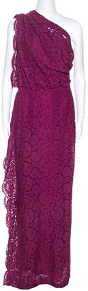 Carolina Herrera CH Magenta Lace Draped Detail One Shoulder Dress M