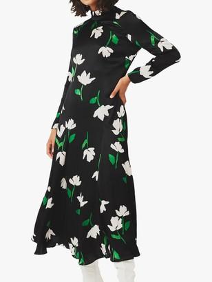 Ghost Gabrielle Satin Dress, Black Paper Flowers
