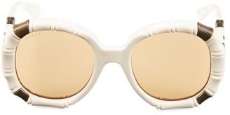 Gucci 54MM Bamboo-Effect Round Sunglasses