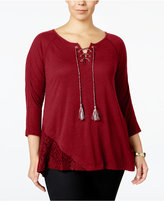 Style&Co. Style & Co. Plus Size Lace-Trim Peasant Top, Only at Macy's