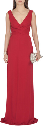 Derek Lam Burgundy Criss Cross Pleated Bodice Sleeveless Gown XS