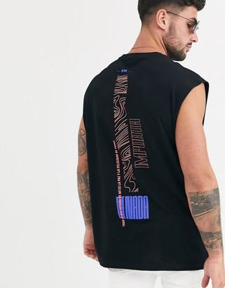 Asos Design DESIGN oversized longline sleeveless t-shirt with spine print