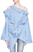 Ground Zero GROUND-ZERO Asymmetric off-shoulder twist stripe poplin shirt