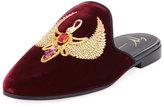 Giuseppe Zanotti Crest-Embroidered Velvet Mule Slide, Red