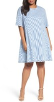 Plus Size Women's Caslon Stripe Denim A-Line Dress
