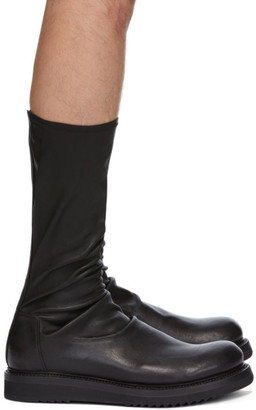 Rick Owens Black Nubuck Creeper Sock Boots