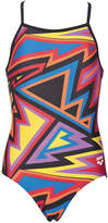 Arena Black & Red Geometric One-Piece - Girls
