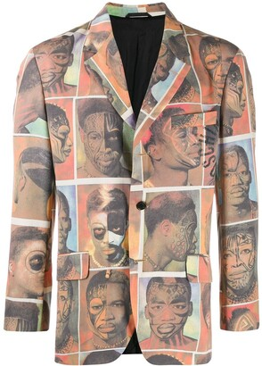 Moschino Pre Owned 1980's Faces Printed Blazer