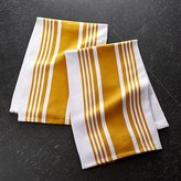 Crate & Barrel Set of 2 Cuisine Stripe Yellow Dish Towels