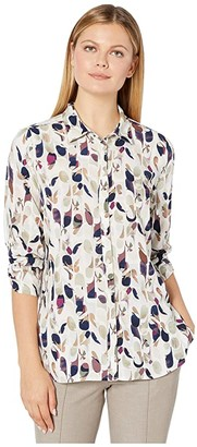 FDJ French Dressing Jeans Autumn Leaves Print Blouse with 3/4 Rushed Sleeves