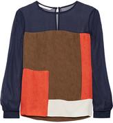Diane von Furstenberg Raegan Color-block Silk Top - Navy