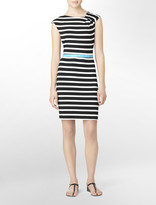 Calvin Klein Black Striped + Belted Cap Sleeve Dress