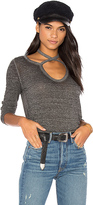 Pam & Gela Long Sleeve Split Scoop Neck Top in Gray. - size S (also in XS)