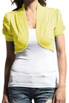 Hollywood Star Fashion Women's Ruched Short Sleeves Cropped Open Shrug Jacket