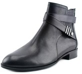 Anne Klein Kael Women Round Toe Leather Black Ankle Boot.