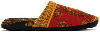 Versace Red Baroque Slippers