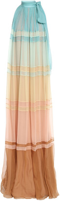 Alberta Ferretti Pussy-bow Gathered Color-block Silk-georgette Maxi Dress