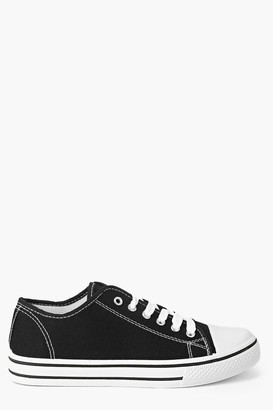 boohoo Lace Up Canvas Flat Sneakers