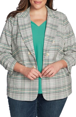 1 STATE Cassia Ruched Sleeve Plaid Blazer