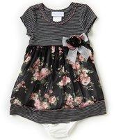 Bonnie Jean Bonnie Baby Baby Girls Newborn-24 Months Striped/Floral A-Line Dress