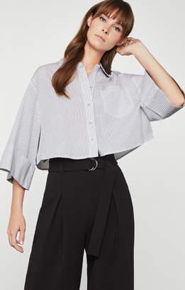BCBGMAXAZRIA Cotton Pinstripe Button-Up