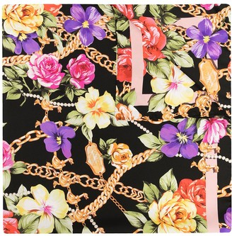 Moschino Floral Chain Pattern Scarf