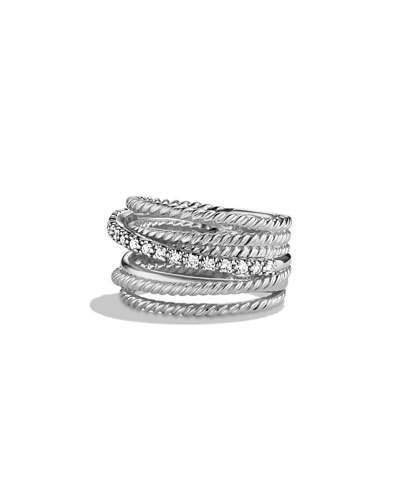 David Yurman Crossover Wide Ring with Diamonds, Size 7