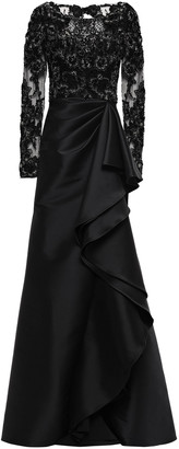 Badgley Mischka Embellished Tulle-paneled Ruffled Faille Gown