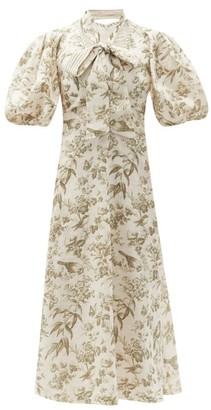 Zimmermann Puff-sleeve Bird-print Linen Midi Dress - White Print