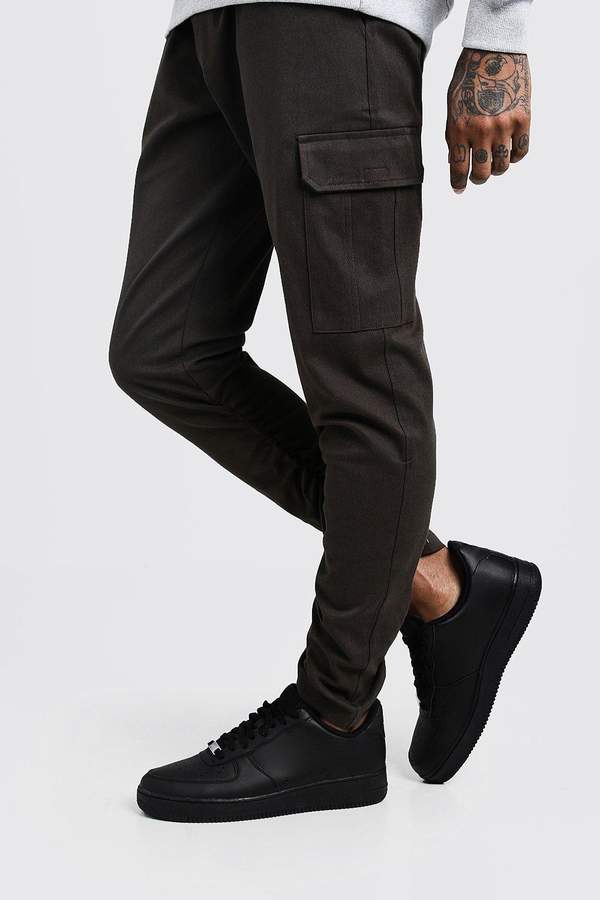 boohoo Skinny Fit Twill Pants With Cargo Pockets