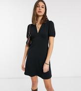 Asos Tall DESIGN Tall mini tea dress with collar in black