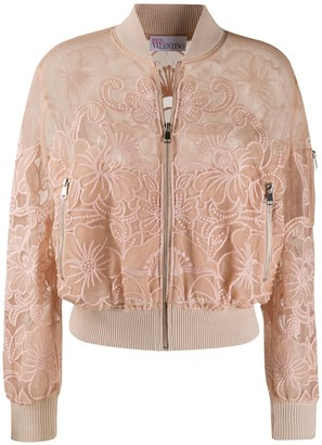 RED Valentino point d'esprit embroidered bomber jacket