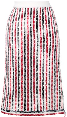 Thom Browne Wide University Stripe Yarn Skirt