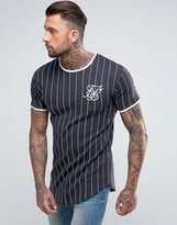 SikSilk Muscle T-Shirt In Navy With Stripes