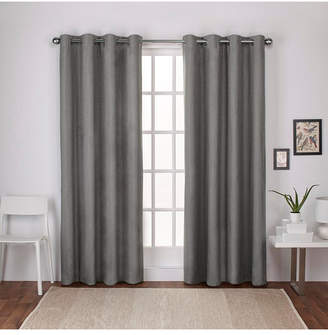 "Exclusive Home Curtains London Textured Linen Blackout Grommet Top Curtain Panel Pair, 54"" x 108"""