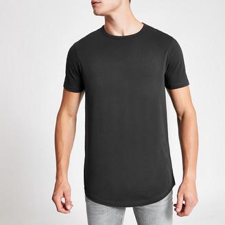 River Island Washed black curved hem longline T-shirt