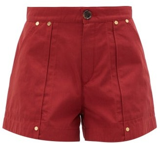 Chloé High-rise Cotton-poplin Shorts - Dark Red