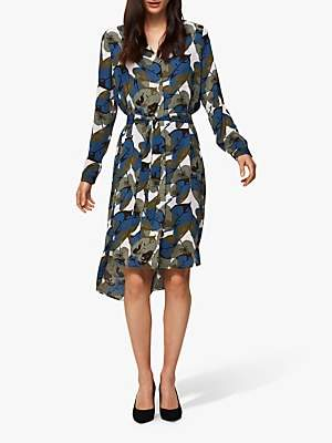 Selected Dynella Leaf Print Shirt Dress, Primrose Pink/Multi
