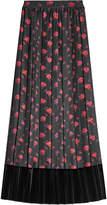 McQ Printed Silk Skirt with Velvet