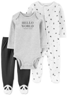 Carter's Baby Boy or Girl 3-Pc. Cotton Panda Coveralls, Bodysuit & Footie Pants Set