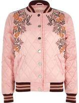 River Island Girls Pink embroidered quilt bomber jacket
