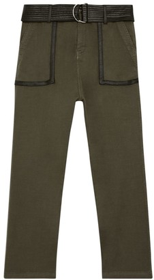 The Kooples Faux-Leather Trim Cropped Pants